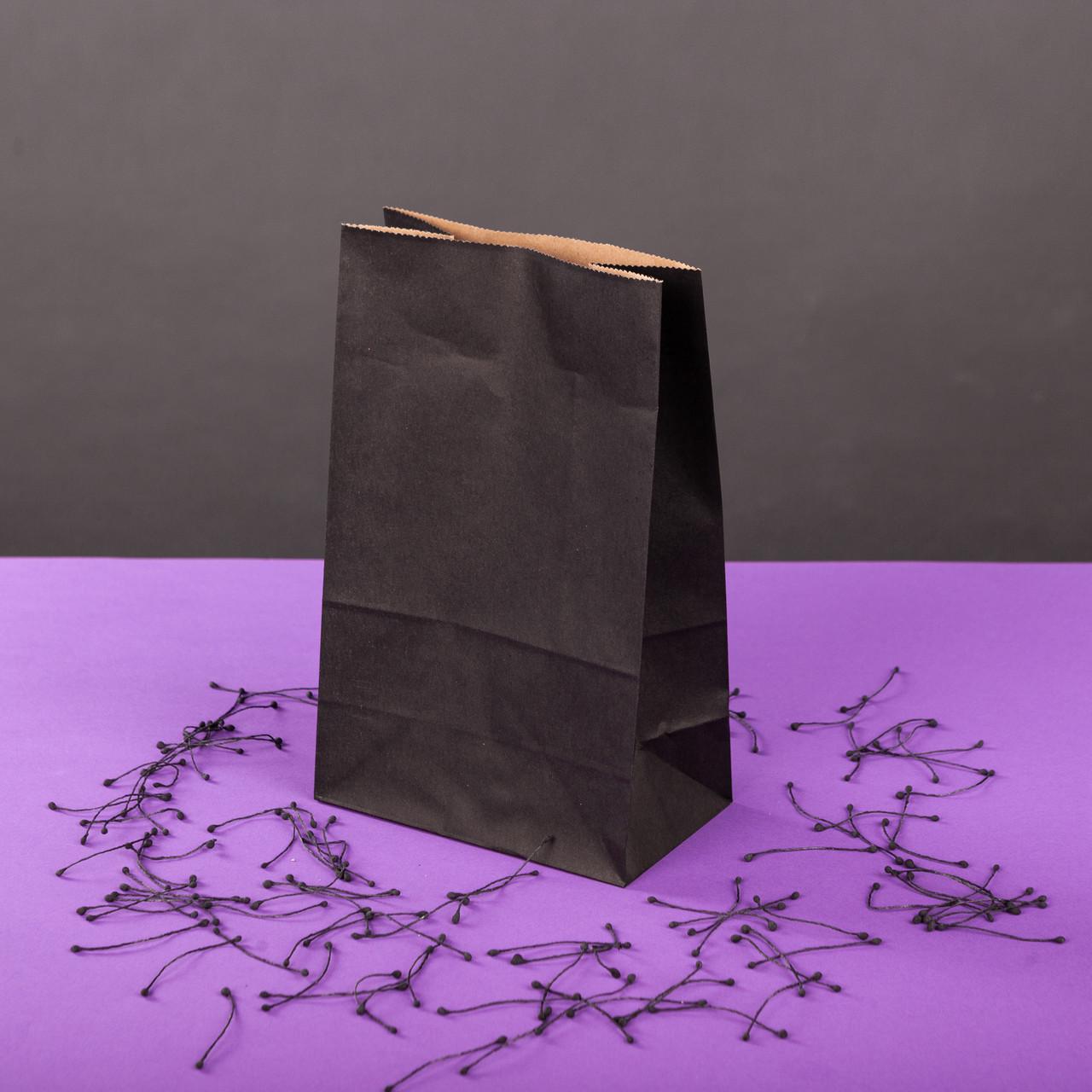 Подарочный пакет Черный 150*90*240 мм с плоским дном
