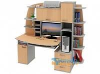 Прямой компьютерный стол с надстройкой и пеналом ЮНИОР 1136