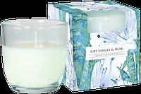 Свеча ароматизированная в стеклянном стакане, Bispol / Soft vanilla & Musk , 28 часов горения
