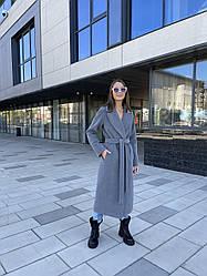 Двобортне жіноче довге пальто з італійського кашеміру