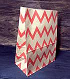 Пакет паперовий подарунковий з малюнком 210х120х290 мм крафт пакет упаковочний з дном, фото 2