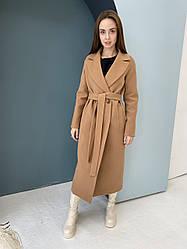 Якісне жіноче довге кашемірове пальто кольору кємел