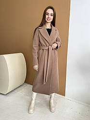 Двобортне кашемірове пальто бежевого кольору міді