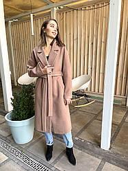 Довге бежеве вільний жіноче пальто оверсайз з поясом