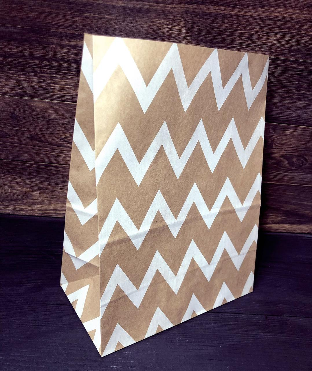 Пакет паперовий подарунковий з малюнком 210х120х290 мм крафт пакет упаковочний з дном