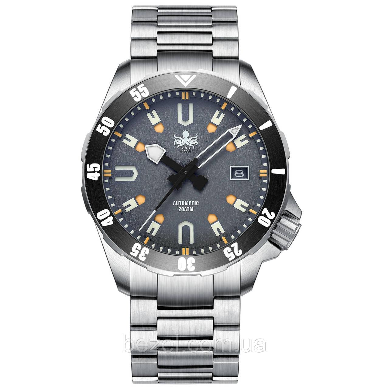 Чоловічі годинники PHOIBOS APOLLO TITANIUM PY031G 200M Automatic Diver Watch Gray