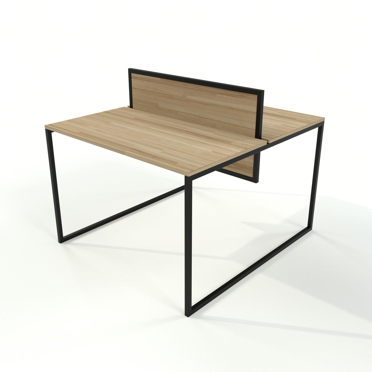 Стол для офиса двойной в стиле Loft  из натурального дерева