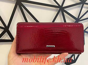 Жіночий лаковий гаманець Mario Dion червоний з натуральної шкіри на магніті/Висока Якість/