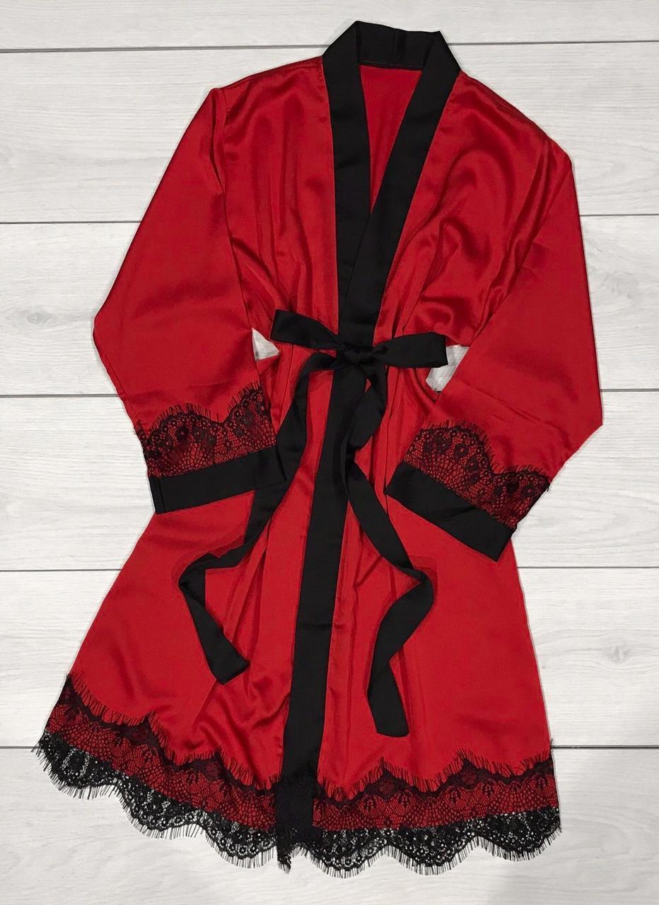 Красный шелковый халат с кружевом Женская одежда для дома