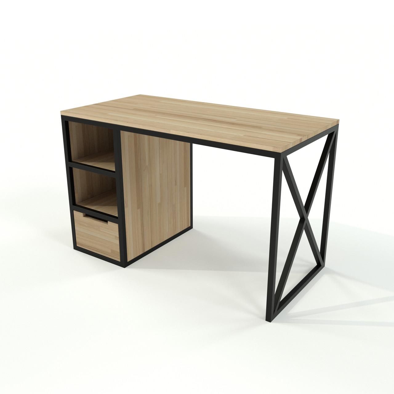 Стіл в стилі лофт з шухлядою з натурального дерева