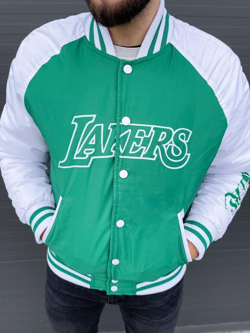 Мужской бомбер демисезонный Lakers бомбовый (зеленая) стильная куртка на новый сезон А10013