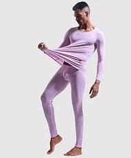 Чоловіча піжама термобілизна гольф підштаники Junao Фіолетовий, фото 2