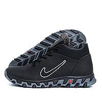 Мужские зимние кожаные ботинки Nike Lunarridge Black (реплика), фото 1