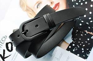 Женский моноцветный ремень кожаный черный