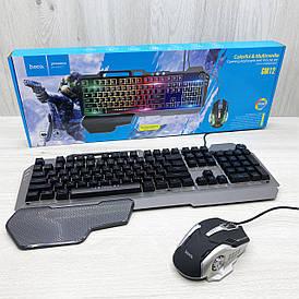 Клавиатура игровая с подсветкой и мышкой Hoco GM12 (чёрная)