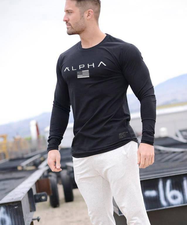 Черный лонгслив Alpha - №6680