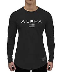 Чорний лонгслив Alpha - №6680, фото 2
