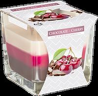 Свеча ароматизированная в стеклянном стакане, Bispol /Chocolate-Cherry , 32 часов горения