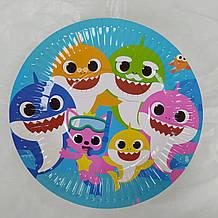 Набір паперових тарілок принт Акули Baby Shark 18см 5шт