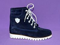 Ботинки женские зимние синие замшевые на шнуровке, фото 1