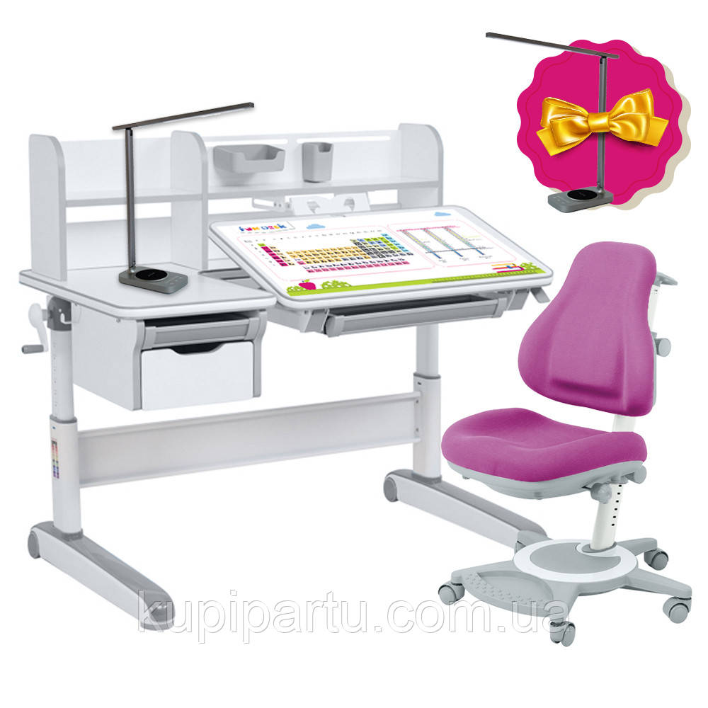 Дитячий комплект стіл-трансформер FunDesk Libro Grey + універсальне крісло FunDesk Bravo Purple