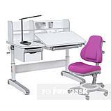 Дитячий комплект стіл-трансформер FunDesk Libro Grey + універсальне крісло FunDesk Bravo Purple, фото 2