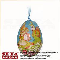Декоративное подвесное пасхальное яйцо голубое