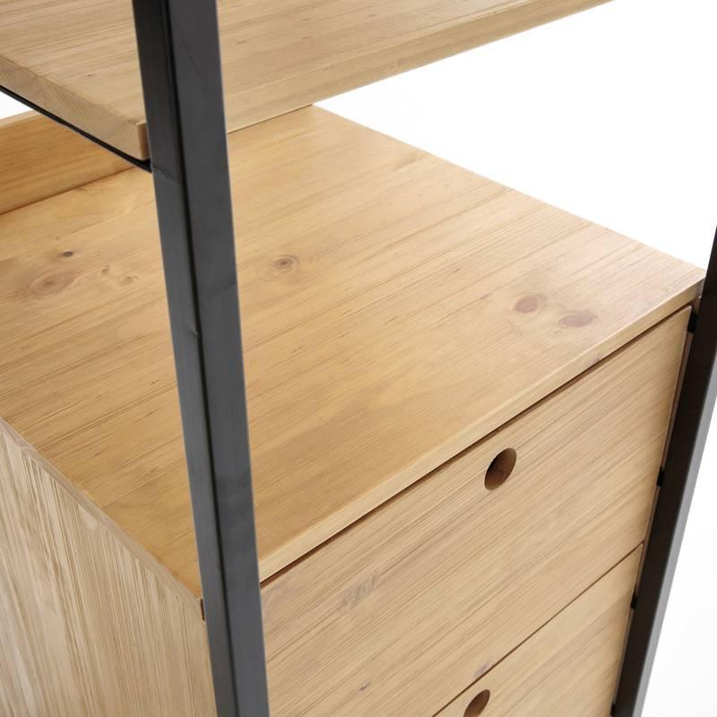 Стеллаж в стиле лофт для офиса из натурального дерева