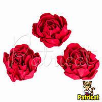 Цветы Пионы Красные из фоамирана (латекса) диаметр 7 см 1 шт