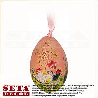 Декоративное подвесное пасхальное яйцо розовое