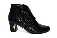 Стильные женские зимние ботинки, черная кожа крокодил, фото 1