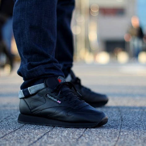 Кроссовки Reebok Classic Leather Black 2267 Оригинал, фото 2