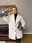 Жіноче стильне і елегантне кашемірове пальто вільного крою, рукав 3/4, 48-52, білий, сірий (Батал), фото 3