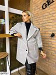 Жіноче стильне і елегантне кашемірове пальто вільного крою, рукав 3/4, 48-52, білий, сірий (Батал), фото 4
