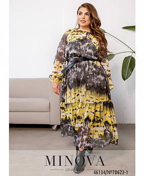 Яркое макси платье из шифона с 50 по 60 размер