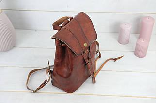 Жіночий шкіряний рюкзак Прага, натуральна шкіра італійський Краст колір коричневий, відтінок Вишня, фото 2