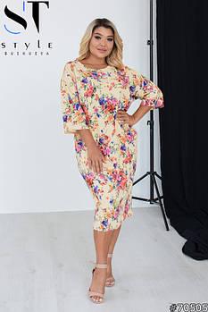 Яркое трикотажное платье с рукавами 3/4 и цветочным принтом с 48 по 58 размер