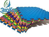 Мягкий пол коврик-пазл Радуга Плетёнка Lanor 150x150*1,2 cм (9шт) Разноцветный