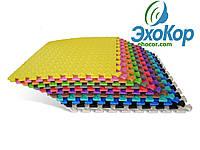 Мягкий пол коврик-пазл Радуга Плетёнка Lanor 200x200x1cм (16шт)Разноцветный, фото 1
