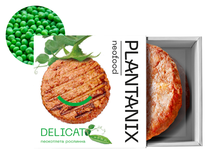 """Котлета растительная для  бургерів із гороху """"Delicat"""" Plantanix 200 г"""