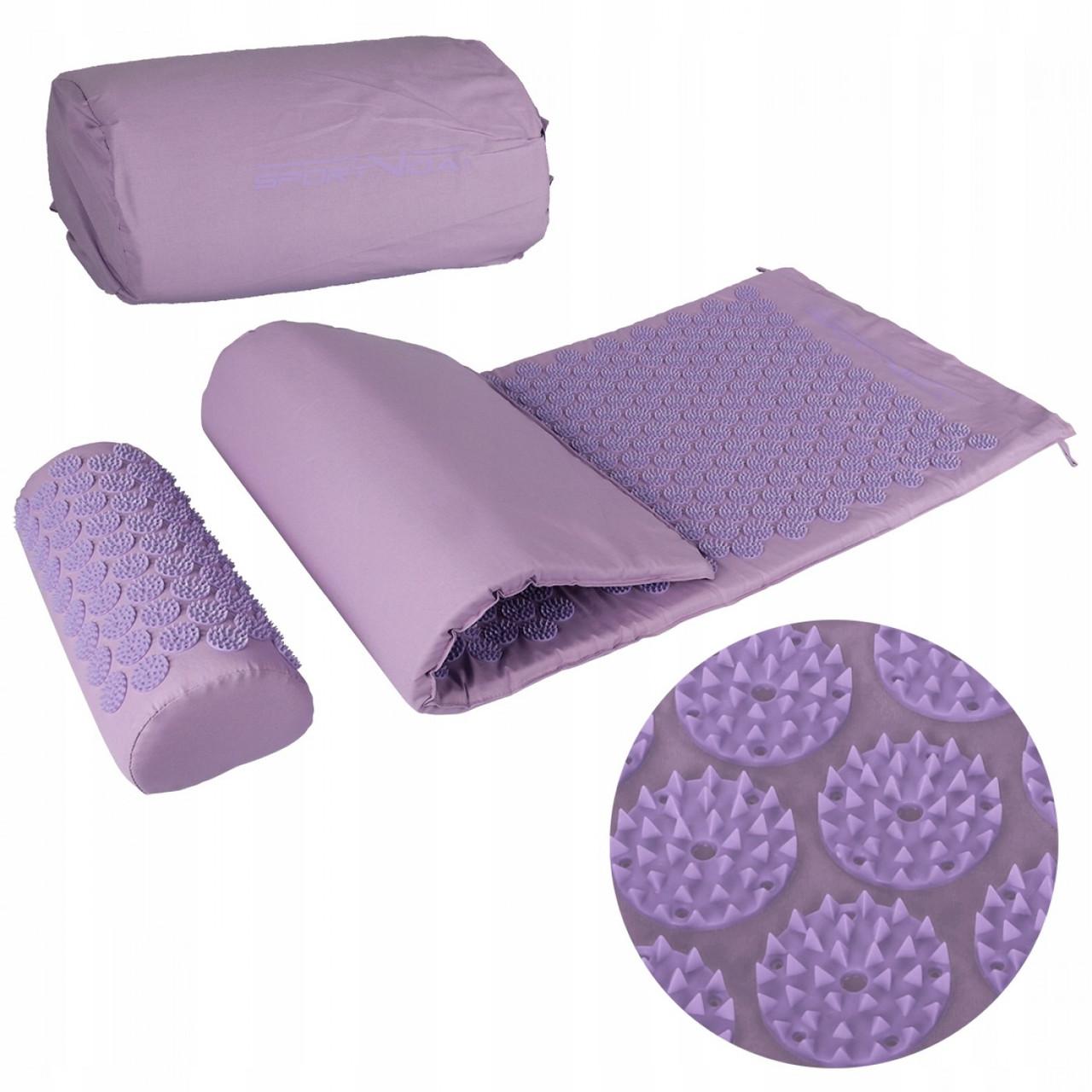 Коврик акупунктурный с валиком SportVida Аппликатор Кузнецова 130 x 50 см SV-HK0411 Purple/Purple - Love&Life