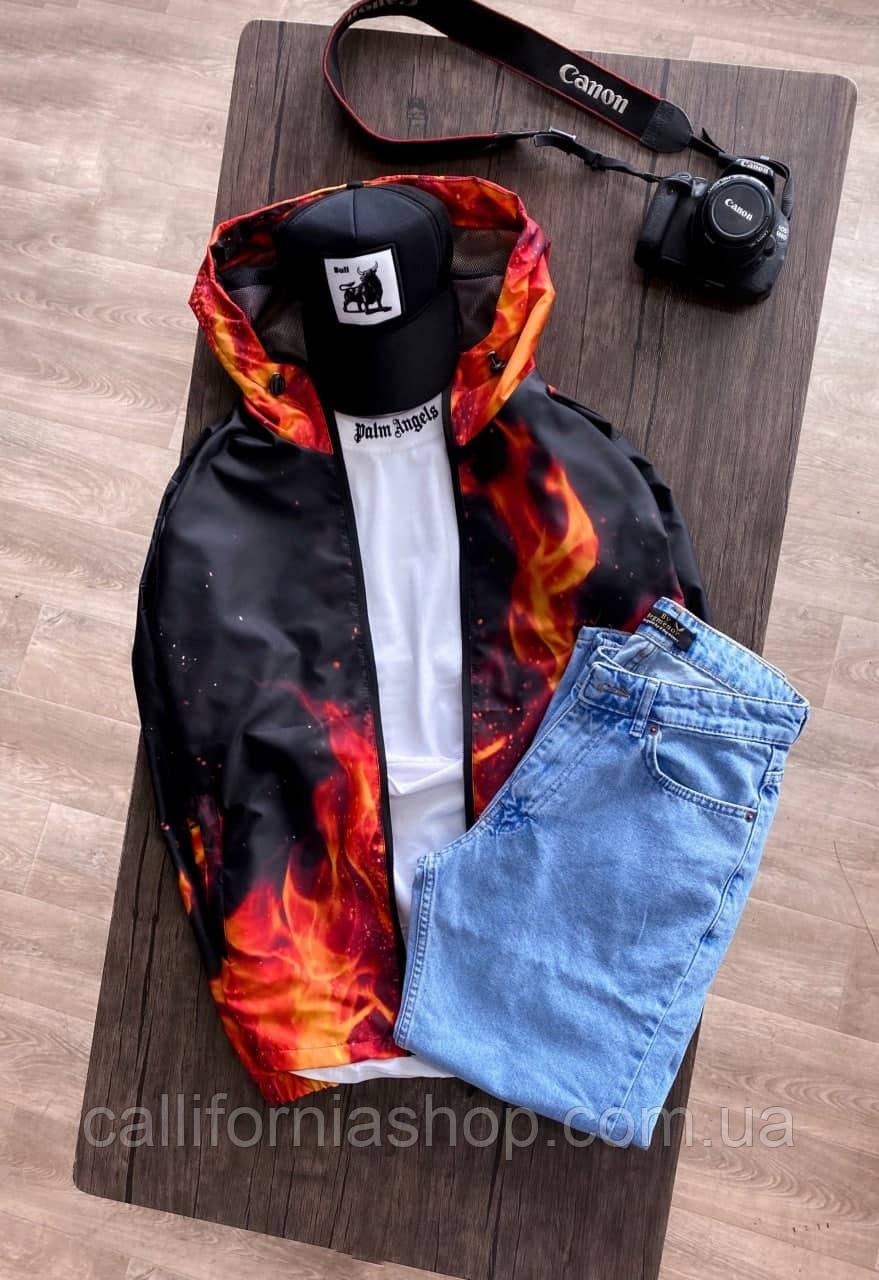 Вітрівка чорна чоловіча з вогнем молодіжна з капюшоном