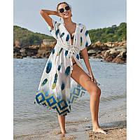 Пляжная накидка на купальник шифоновая перо павлина - 405-53