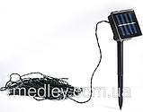 Светодиодная гирлянда на солнечной батарее 100 LED зелёный 12м, фото 2