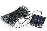 Светодиодная гирлянда на солнечной батарее 100 LED зелёный 12м, фото 3