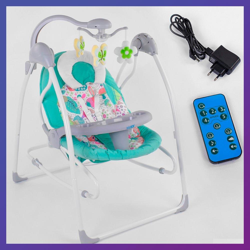 Укачивающий центр детский с пультом JOY 3в1 CX-55109 Детское кресло-качалка с пультом бирюзовый