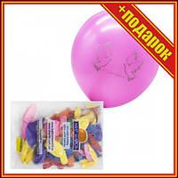 Шарики с шелкографией, 50 штук,Шарики сердечки фольгированные,Шарики на день рождения,Шарик