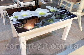 Стіл трансформер Флай білий зі склом 16_320, журнальний обідній