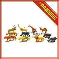 Ігровий набір тварин 2066B 12 шт в наборі,Фігурки лісових тварин,Гумовий набір диких тварин,Фігури