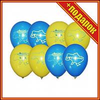 """[SH0001012] Кульки латексна 10"""" пастель 10(09) та 02 з мал. """"Я люблю Україну"""" (100шт/уп),Шарики сердечки"""